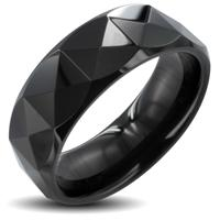 PVD Black Tungsten Carbide Ring With Triagular Prism Cut Design