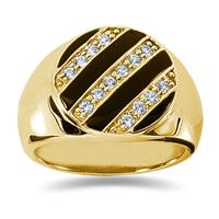 0.35 CTW Mens Diamond Ring in 14K Yellow Gold