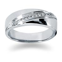 0.12 ctw. Men's Round  Diamond Wedding Band in 18K White Gold