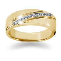 0.12 ctw. Men's Round  Diamond Wedding Band in 18K Yellow Gold