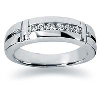 0.28 ctw. Men's Round  Diamond Wedding Band in 18K White Gold