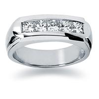1 ctw. Men's Princess Diamond Wedding Band in 18K White Gold