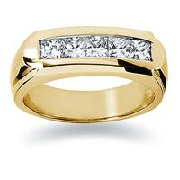 1 ctw. Men's Princess Diamond Wedding Band in 18K Yellow Gold