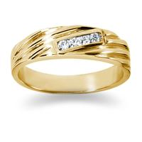 0.12 ctw. Men's Round  Diamond Wedding Band in 14K Yellow Gold