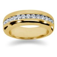 0.98 ctw. Men's Round  Diamond Wedding Band in 14K Yellow Gold