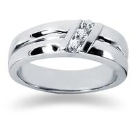0.24 ctw. Men's Round  Diamond Wedding Band in 14K White Gold