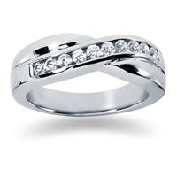0.55 ctw. Men's Round  Diamond Wedding Band in 14K White Gold