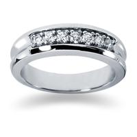 0.49 ctw. Men's Round  Diamond Wedding Band in 14K White Gold