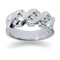 0.72 ctw. Men's Round  Diamond Wedding Band in 14K White Gold