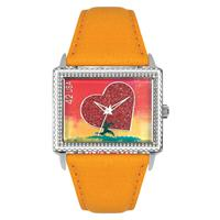 "Postal Service Collection ""Running With Your Heart"" Watch with Orange Leather Strap"