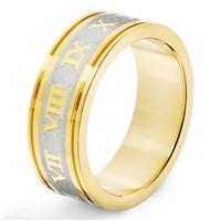Stainless Steel Etched Roman Numeral Ring