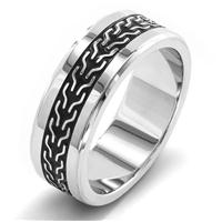 Crucible Stainless Steel Black Plate Intricate Woven Inlay Ring