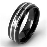 Men's Stainless Steel and Black Plated Polished Ring
