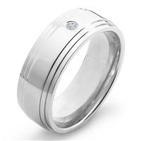 Crucbile Titanium and Diamond Polished Ridged Comfort Fit Band