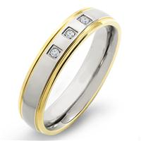 Crucible Goldplated Titanium and Diamond Grooved Comfort Fit Ring