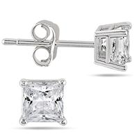 1/3 Carat Princess Diamond Solitaire Earrings in 14K White Gold