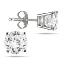 1.00 Carat Round Diamond Solitaire Earrings in 14K White Gold