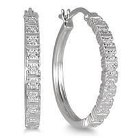 Diamond Hoop Earrings in .925 Sterling Silver