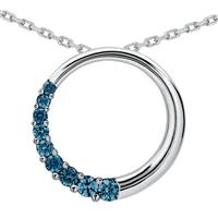 1 Carat Blue Diamond Circle Journey Pendant in 10K White Gold