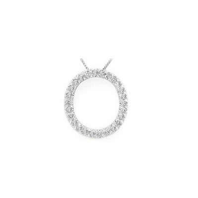 Alphabet O Diamond Initial Pendant in 14k White Gold