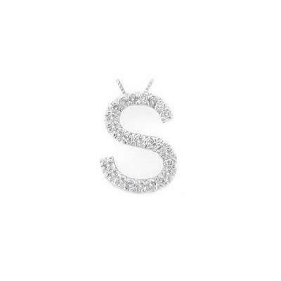Alphabet S Diamond Initial Pendant in 14k White Gold