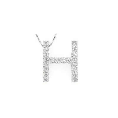 Alphabet H Diamond Initial Pendant in 14k White Gold