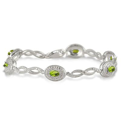 1.62 Carat Genuine Peridot and Diamond Bracelet in .925 Sterling Silver