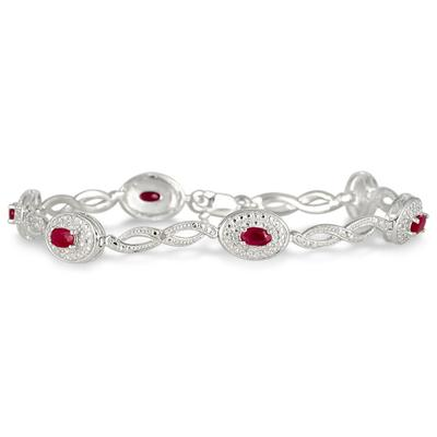 1.62 Carat Genuine Ruby and Diamond Bracelet in .925 Sterling Silver