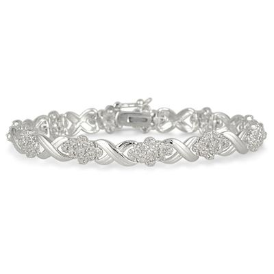 1.00 Carat TW Round Diamond Bracelet in .925 Sterling Silver