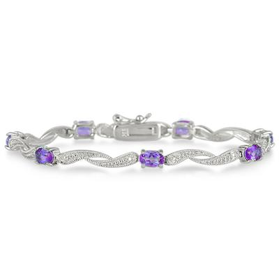 4.00 Carat Natural Amethyst and Diamond Bracelet in .925 Sterling Silver