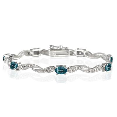 4.00 Carat London Blue Topaz and Diamond Bracelet in .925 Sterling Silver