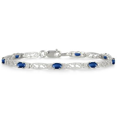 2.00 Carat All Natural Sapphire and Diamond Bracelet in .925 Sterling Silver