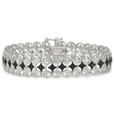 1 Carat Black and White Diamond Byzantine Bracelet in .925 Sterling Silver