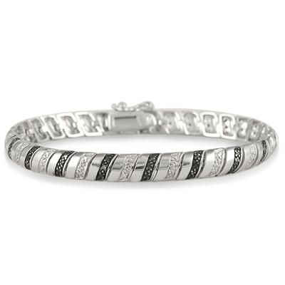 Black and White Diamond Snake Bracelet in .925 Sterling Silver