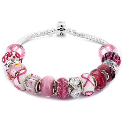 Commemorative Breast Cancer Awareness Pacific Glass Bead Bracelet