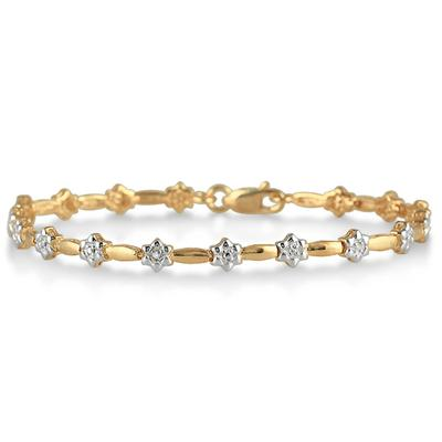 18K Gold Plated Diamond Bud Bracelet in .925 Sterling Silver