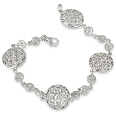 1/2 Carat Antique Byzantine Bracelet in .925 Sterling Silver