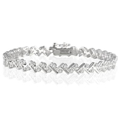 1.00 Carat Diamond Bracelet in .925 Sterling Silver