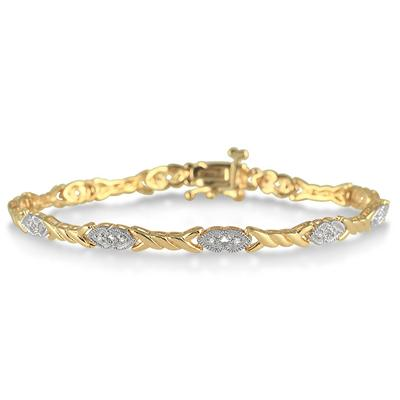 1/10 Carat Double Heart Diamond Bracelet in 18K Gold Plated Sterling Silver