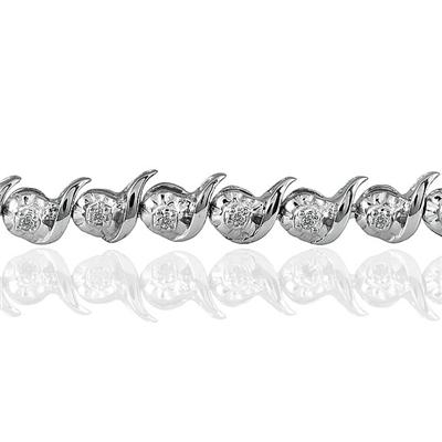 1/4 Carat Diamond S-Link Bracelet in .925 Sterling Silver