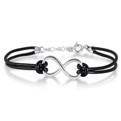 Sterling Silver Infinity Bracelet with Genuine Leather Strap