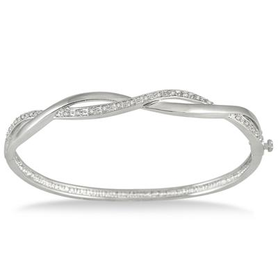 1/4 Carat Diamond Bangle in .925 Sterling Silver