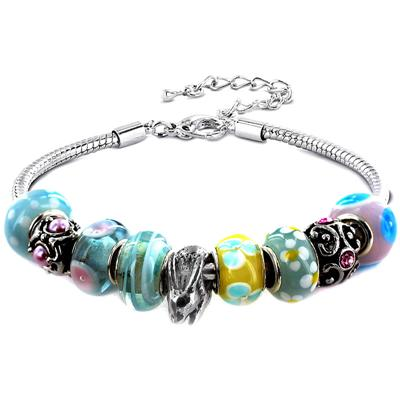 Easter Exclusive - Spring Pastel Glass Bead and Bunny Charm Silver Plated Bracelet