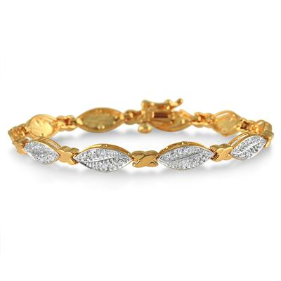 1/5 Carat Diamond Bracelet in 18K Yellow Gold Plated Sterling Silver