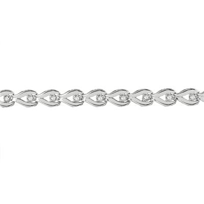 1/2 Carat Diamond Link Bracelet in .925 Sterling Silver
