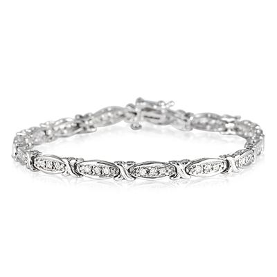 1.00 Carat Diamond Hugs and Kisses Bracelet in .925 Sterling Silver
