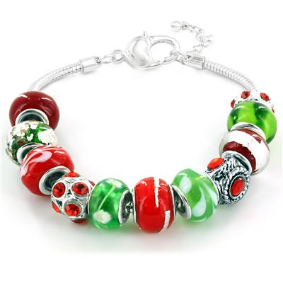 Holiday Season Exclusive Glass Bead Bracelet with Heart Link Clasp