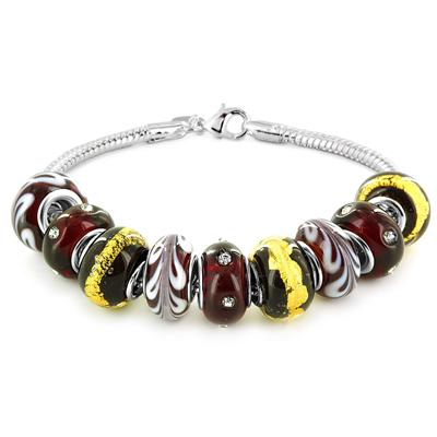 Hand Blown Merlot Glass Infused Bead Bracelet
