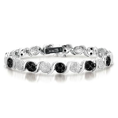 1.30 Carat Genuine Black & White Diamond Bracelet in .925 Sterling Silver