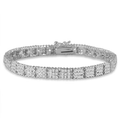 Diamond Cluster Bracelet in Rhodium Plated Solid Brass